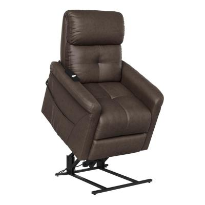 Modern Style in Chocolate Brown Suede-like Fabric with Round Arms Power Recline and Lift Chair