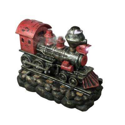 27.5 in. LED Red and Black Vintage Locomotive Train Water Fountain
