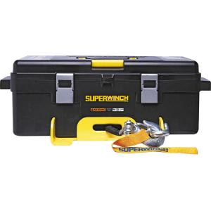 Superwinch Winch 2 Go 4000SR, Portable 4000 lbs. 12-Volt Winch System with Synthetic Rope Pulley Block Gloves... by Superwh