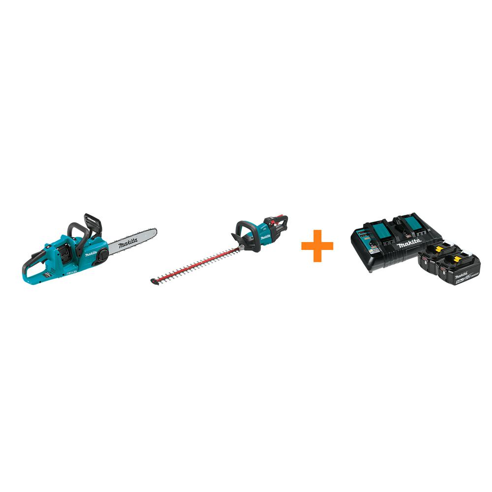 Makita 18V X2 LXT 14 in. Rear Handle Chainsaw and 18V LXT 24 in. Hedge Trimmer with bonus 18V LXT Starter Pack was $797.0 now $528.0 (34.0% off)