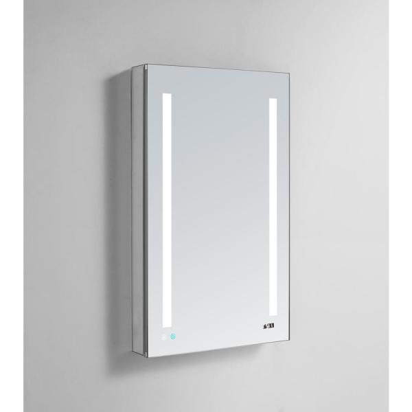 Signature Royale 24 in W x 30 in. H Recessed or Surface Mount Medicine Cabinet with Single Door,LED Lighting,Right Hinge
