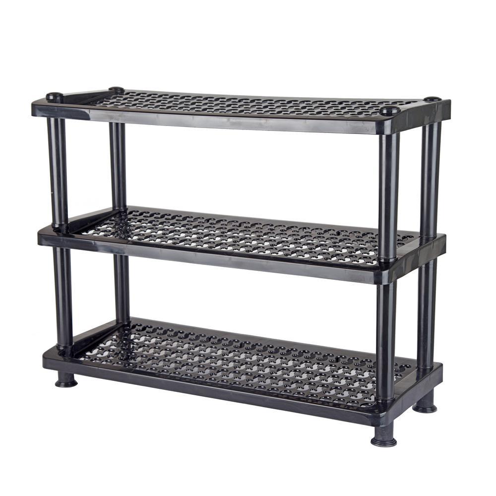 12-Pair Black 3-Tier Shoe Rack