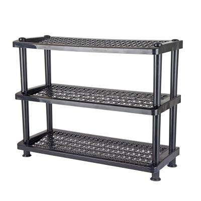 12-Pair Black 3-Tier Shoe Rack