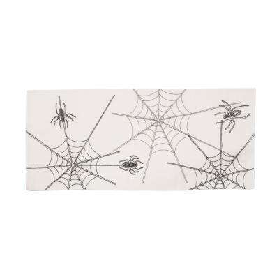 0.1 in. H x 16 in. W x 36 in. D Halloween Spider Web Double Layer Table Runner in White
