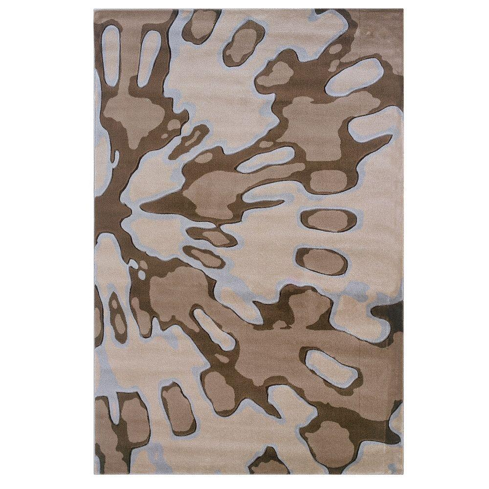 Linon Home Decor Milan Collection Ivory and Brown 1 ft. 10 in. x 2 ft. 10 in. Indoor Area Rug