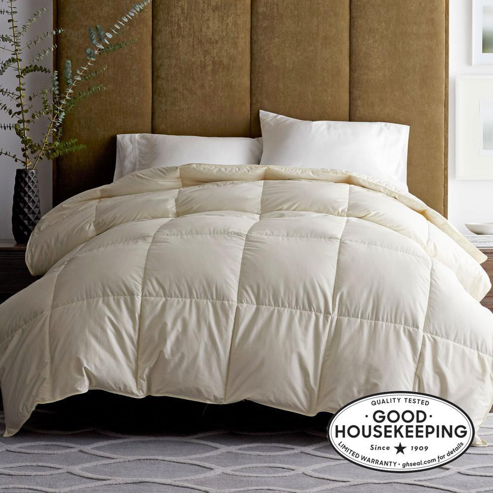 Legends Luxury Geneva Medium Warmth Ivory King Oversized Goose Down Comforter