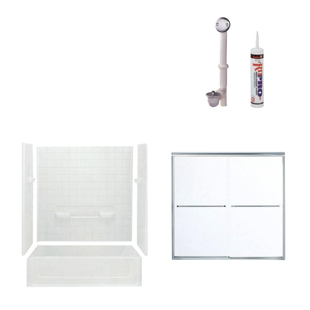 STERLING All Pro 60 in. x 30 in. x 73-1/2 in. Bathtub Kit with Left-Hand Drain in White with Chrome Trim-DISCONTINUED