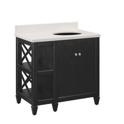 Hayes Contemporary 36 in. Bath Vanity in Black with Cultured Marble Vanity Top in Off-White with White Sink