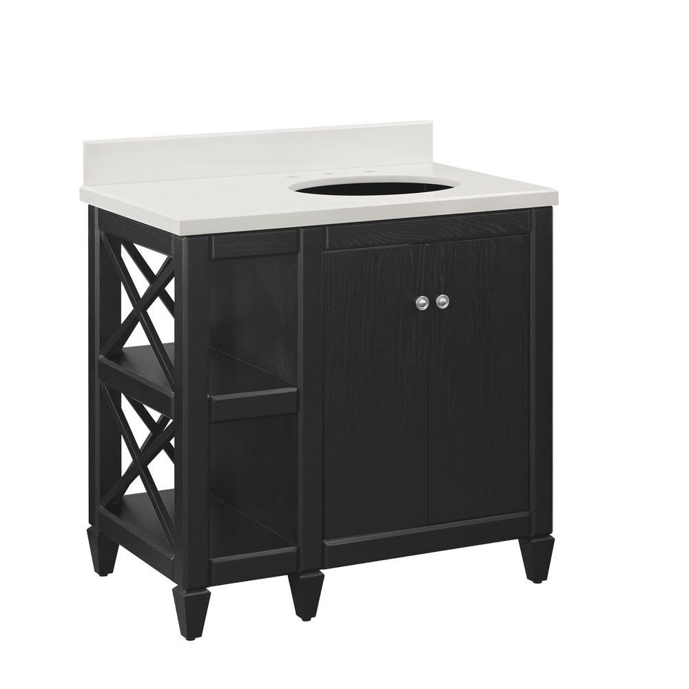 black bathroom vanity with white marble top home decorators collection contemporary 36 in bath 25985