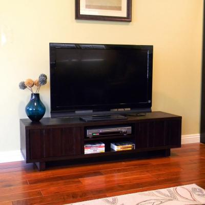 Conrad Collection 59 in. Dark Birch Wood TV Stand Fits TVs Up to 65 in. with Storage Doors