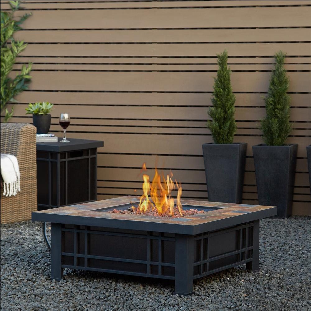 Morrison 34 in. Steel Fire Pit in Black and Brown with