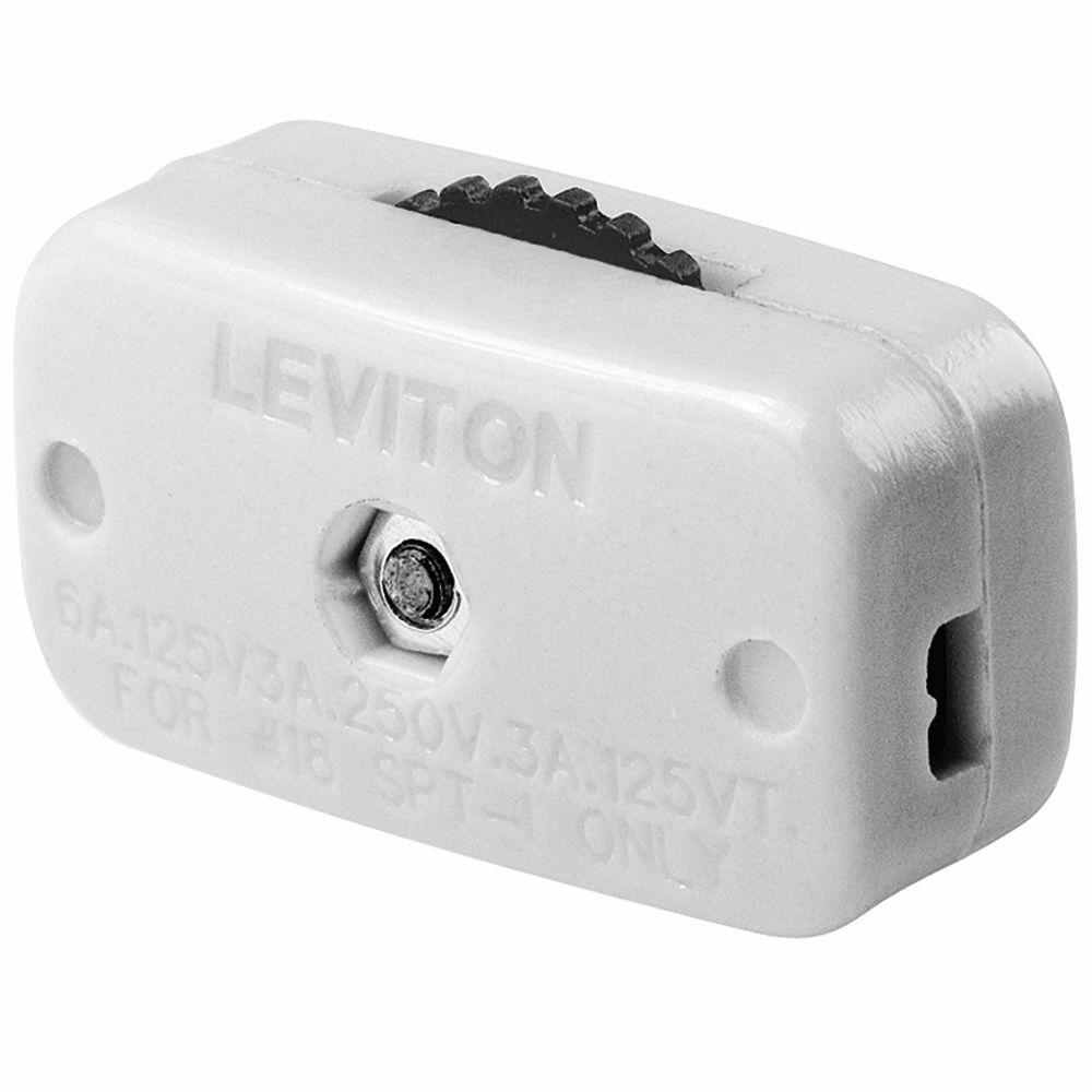Leviton 6 Amp Mini Thumb Wheel Cord Switch White R52