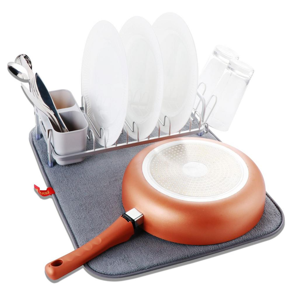 Aluminum with Drying Mat Compact Dish Drying Rack