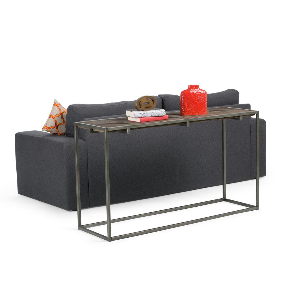 Simpli Home Avery Distressed Java Brown Wood Inlay Console Sofa Table