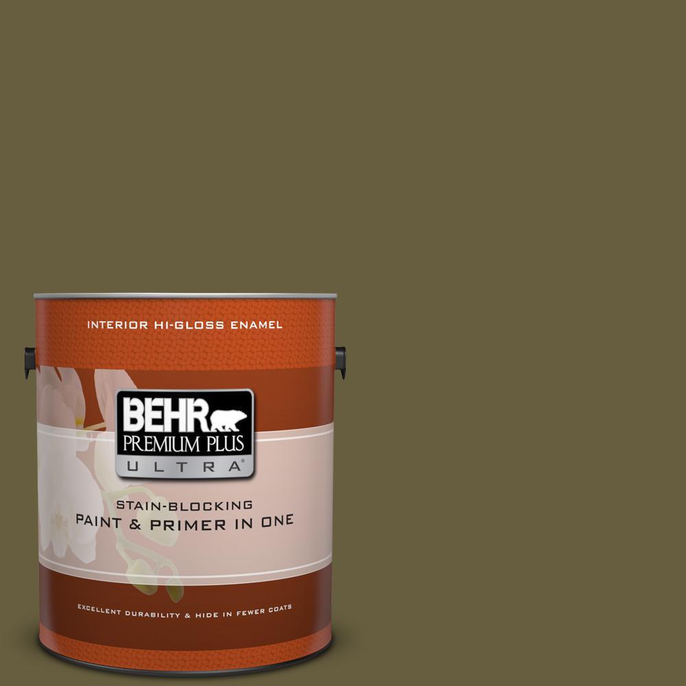 1 gal. #ICC-88 Classic Olive Hi-Gloss Enamel Interior Paint
