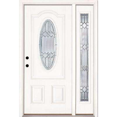 50.5 in.x81.625in.Mission Pointe Zinc 3/4 Oval Lt Unfinished Smooth Right-Hand Fiberglass Prehung Front Door w/ Sidelite