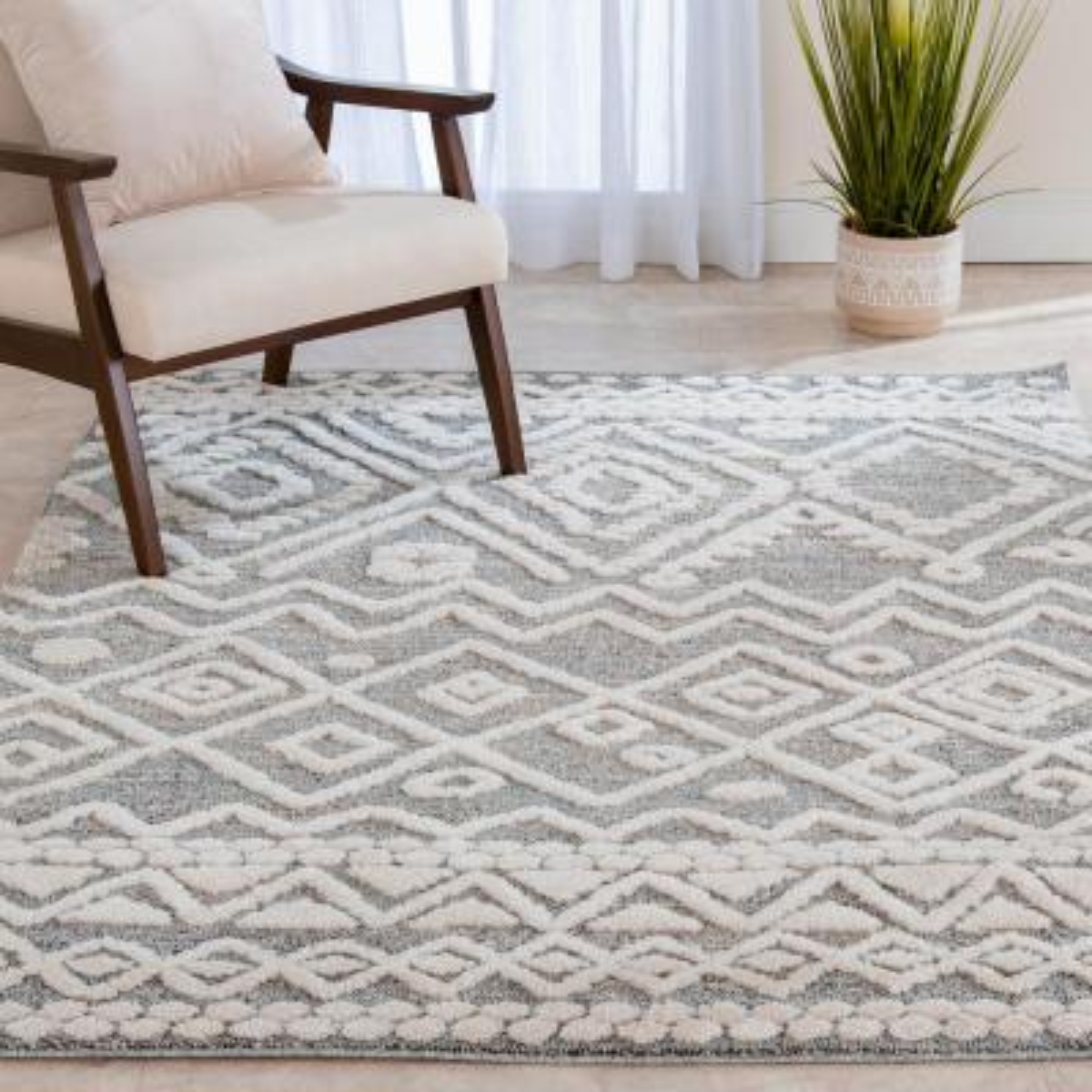 Bazaar Sabian White/Grey 8 ft. x 10 ft. Geometric Polypropylene Area Rug