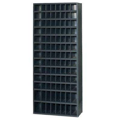 HeviLoad 36 in. W x 12 in. D x 85 in. H 12 Bin Gray Industrial Bin Unit Shelving