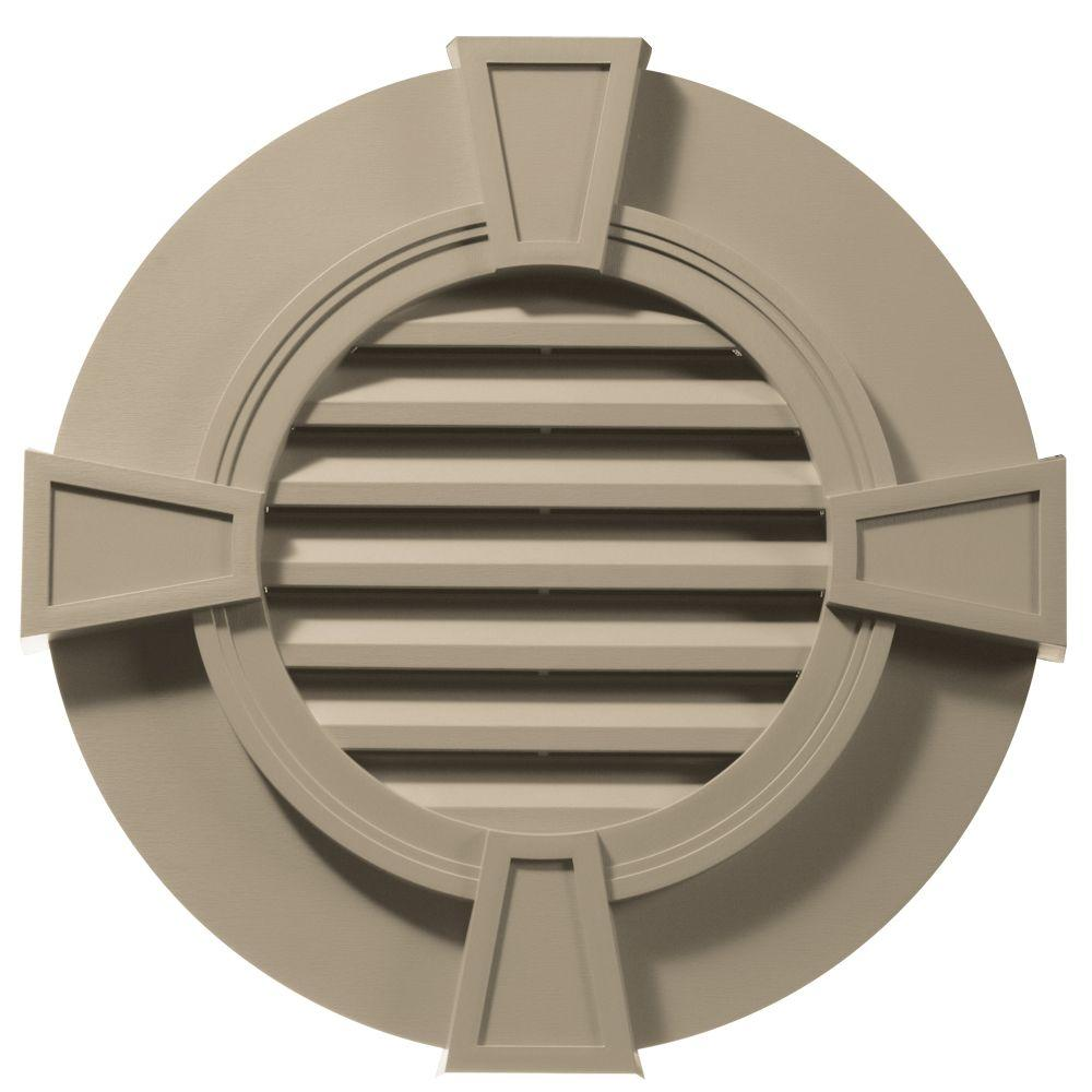 Builders Edge 30 in. Round Gable Vent in Clay with Keystones