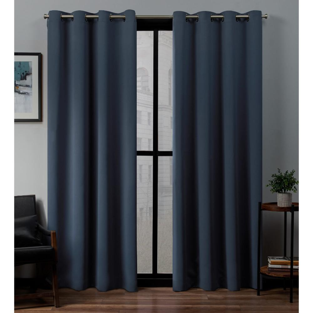 Exclusive home curtains sateen twill weave blackout grommet top curtain panel pair in vintage indigo