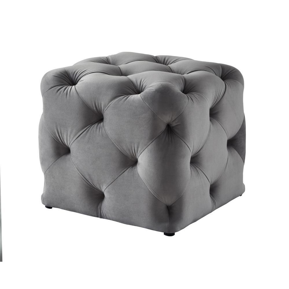 Inspired Home Genevieve Grey Cube Tufted Upholstered Velvet Ottoman ON84-02GR-HD