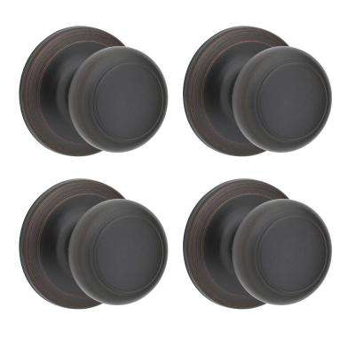 Cove Venetian Bronze Passage Hall/Closet Door Knob (4-Pack)
