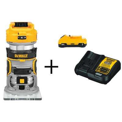20-Volt MAX Lithium-Ion Cordless Brushless Router (Tool-Only) with Free 20-Volt MAX Battery 3.0Ah & Charger