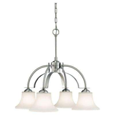 Barrington 4-Light Brushed Steel Chandelier with Opal Etched Glass Shade