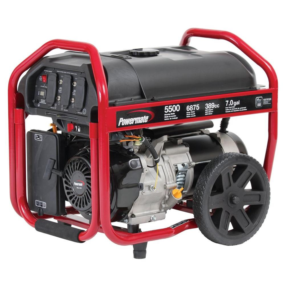 Powermate 5,500-Watt Gasoline Powered Manual Start Portable Generator