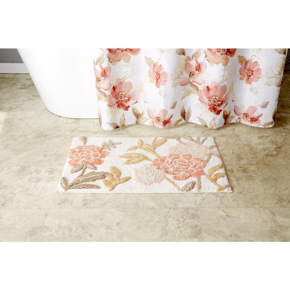 Pink Misty Fl Cotton Bath Rug