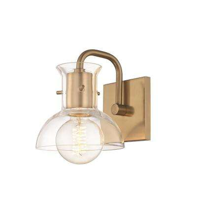 Riley 1-Light Aged Brass Bath Light with Clear Glass