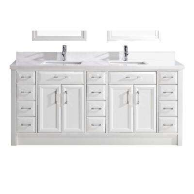 Calais 75 in. W x 22 in. D Vanity in White with Solid Surface Vanity Top