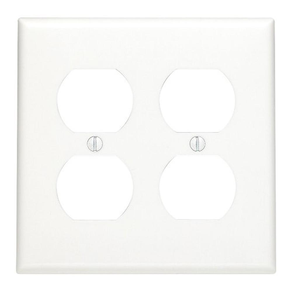 2gang standard size 2duplex receptacles nylon wall plate white