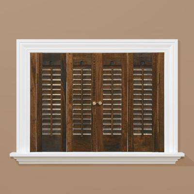 Walnut 1-1/4 in. Traditional Real Wood Interior Shutter 35 to 37 in. W x 36 in. L