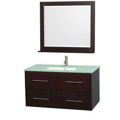 Centra 42 in. Vanity in Espresso with Glass Vanity Top in Green, Square Sink and 36 in. Mirror