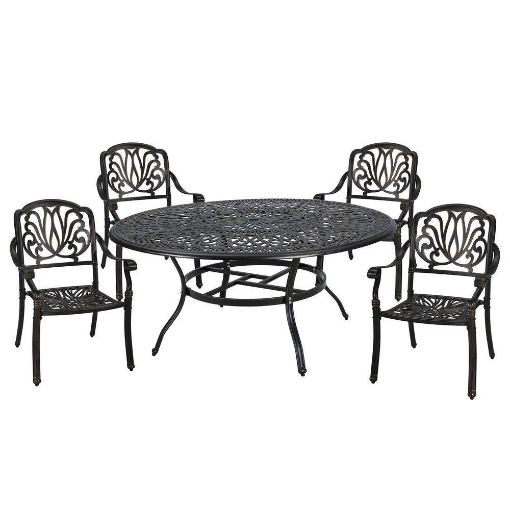 5-Piece Aluminum Outdoor Dining Set with Umbrella Hole