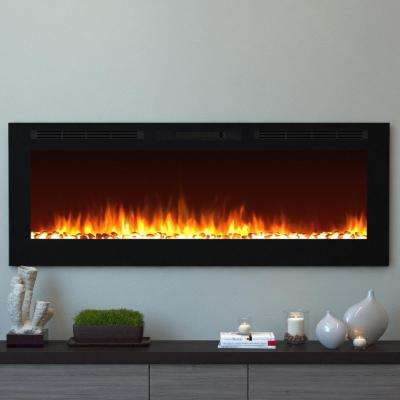 Cynergy 60 in. XL Pebble Electric Recessed Built-In Fireplace in Black