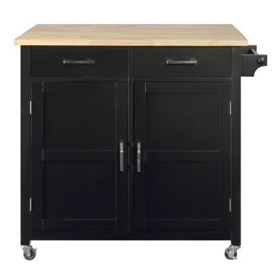 Macie Black Kitchen Cart with Natural Wood Top