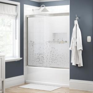 Lyndall 60 in. x 58-1/8 in. Semi-Frameless Traditional Sliding Bathtub Door in Nickel with Mozaic Glass