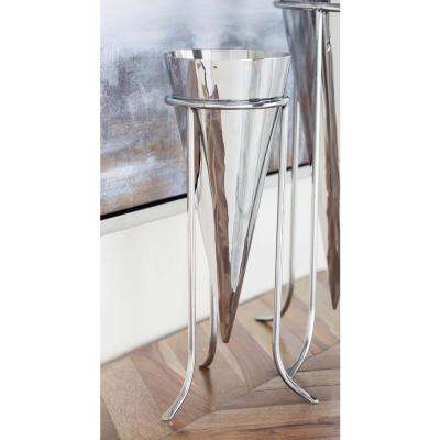 14 in. Stainless Steel Cone Decorative Vase in Silver