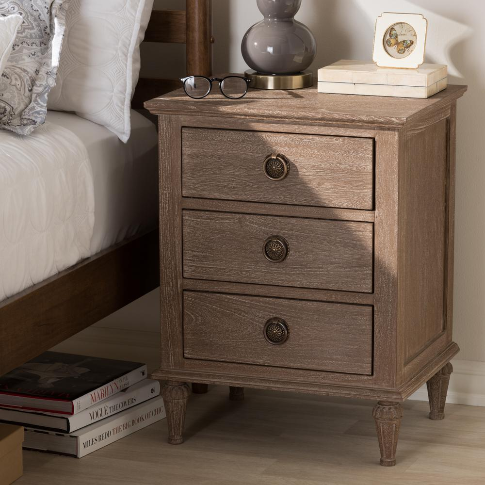 Venezia 3 Drawer Light Brown Nightstand
