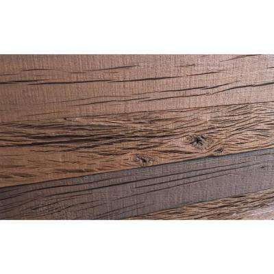"""Holey Wood """"100"""", 28 in. x 11 in. Reclaimed Wood Decorative Wall Panel in Brown Color (10-Pack)"""