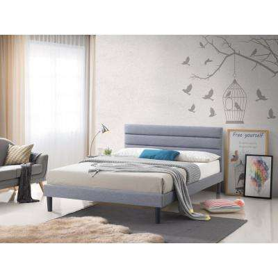 Brisbane Gray Fabric Queen-Size Upholstered Panel Platform Bed