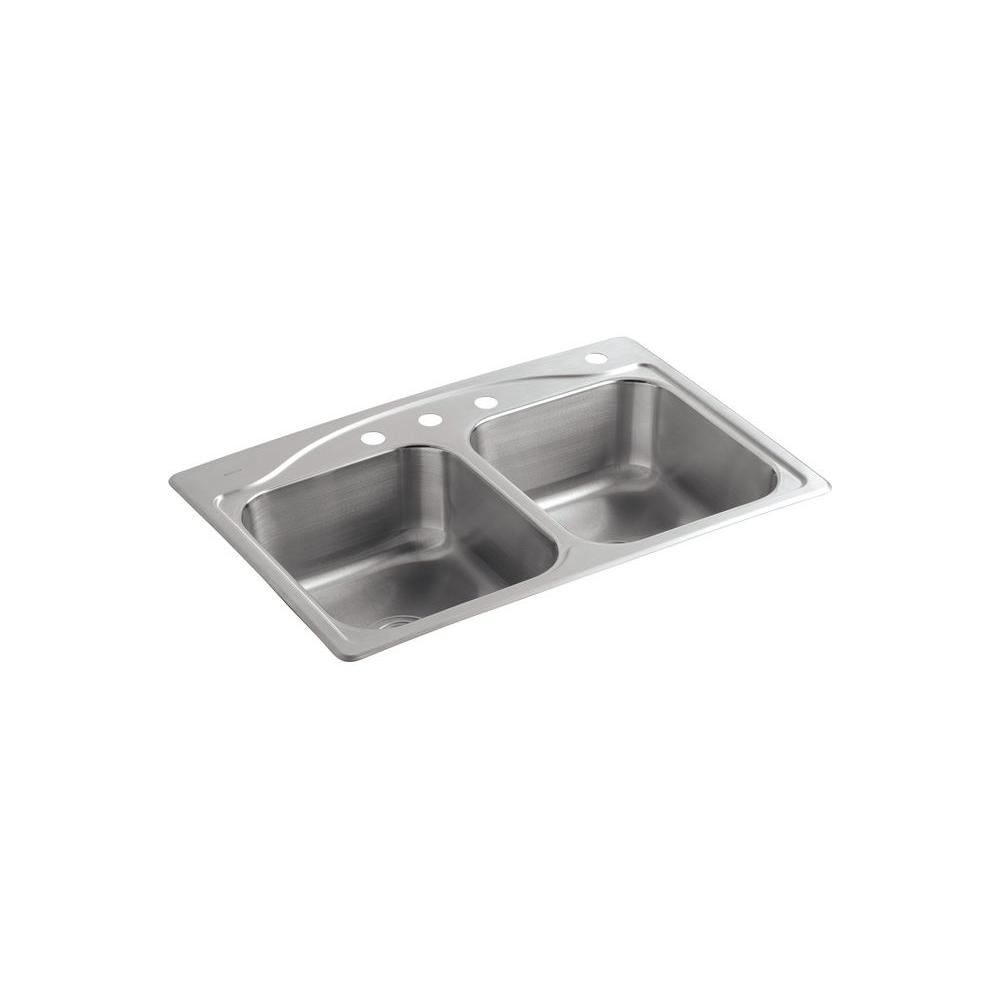 Cadence Drop-In Stainless Steel 33 in. 4-Hole Double Bowl Kitchen Sink