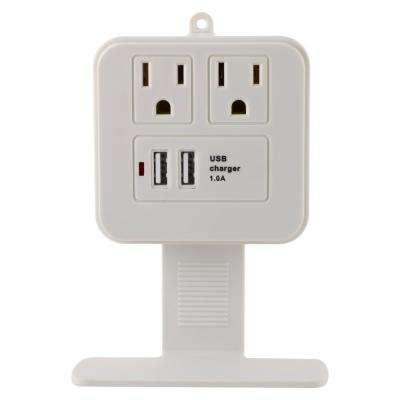 2-Outlet 2 USB Charging Surge Protector Tap with Removeable Device Shelf