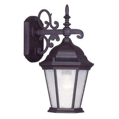 Providence 1-Light Bronze Outdoor Wall Lantern with Clear Water Glass