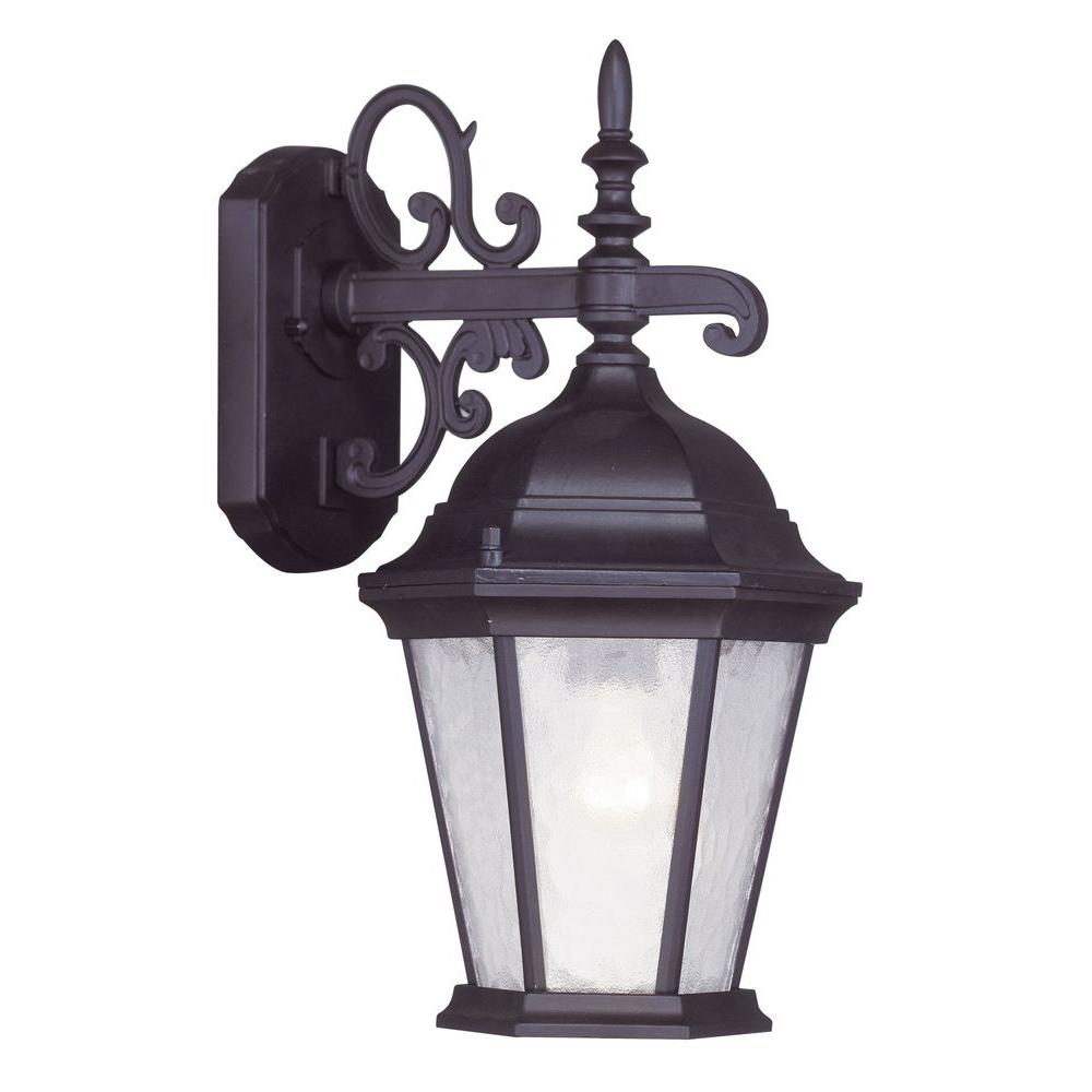 Livex Lighting Providence 1-Light Bronze Outdoor Wall Lantern Sconce with Clear Water Glass