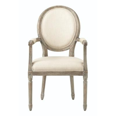 Jacques Antique Brown Natural Linen Dining Chair