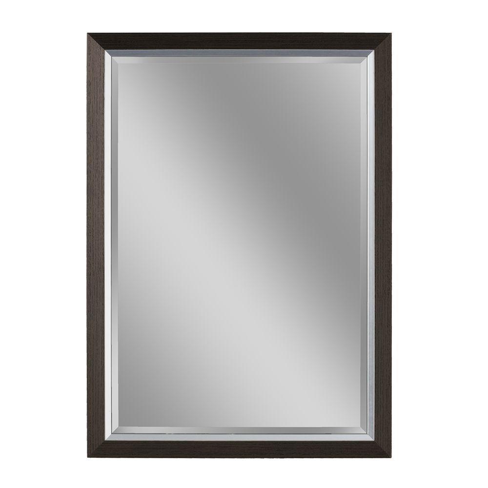 40 in. L x 28 in. W Avalon Mirror in Espresso Brush Nickel Frame