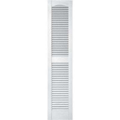 12 in. x 55 in. Louvered Vinyl Exterior Shutters Pair in #001 White